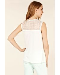 Oasis White Spot Lace Shell Top