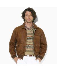 Polo Ralph Lauren - Brown Morrow Skeet Leather Bomber Jacket for Men - Lyst
