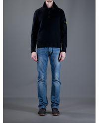 Stone Island Blue Funnel Neck Sweater for men