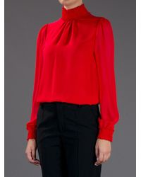 Valentino Red Funnel Neck Blouse