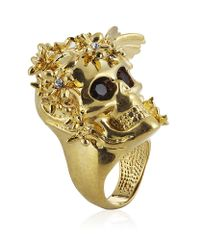 Alexander McQueen | Metallic Gold Flower Skull Cocktail Ring | Lyst