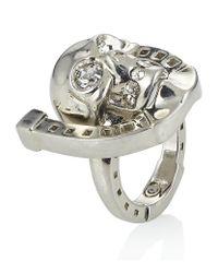 Alexander McQueen | Metallic Silver Horseshoe Skull Ring | Lyst