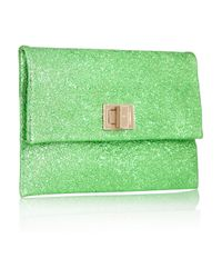 Anya Hindmarch Green Valorie Metallic Leather Clutch