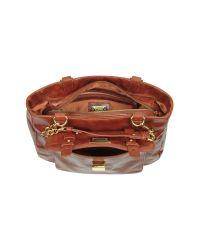 Badgley Mischka Brown Carley Shine Cognac Leather Handbag