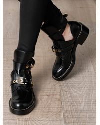 Balenciaga | Black Cutout Leather Ankle Boots | Lyst