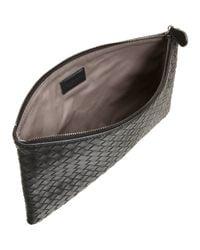 Bottega Veneta Black Intrecciato Napa Flat Zip Case