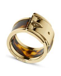 Michael Kors - Metallic Gold Tone Tortoise Wide Buckle Ring - Lyst