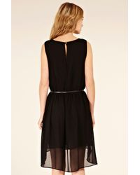 Oasis Black Cut Out Dip Hem Belted Dress