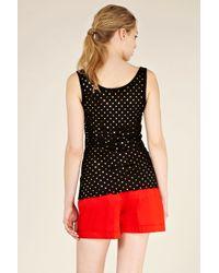 Oasis Black Foil Spot Scallop Hem Vest