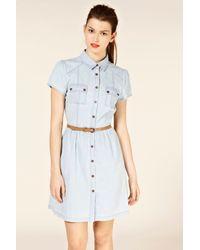 Oasis Blue Utility Shirt Dress