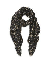 Paul Smith Blue Shark Tooth Print Scarf for men