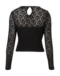 TOPSHOP Black Lace Long Sleeve Crop Top