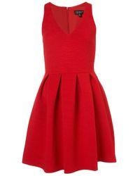 TOPSHOP Red Cherry Twist Rib Skater Dress
