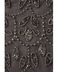 TOPSHOP Gray Paisley Embellished Crop Vest