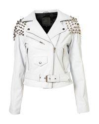 TOPSHOP White Maiden Biker Jacket By The Ragged Priest