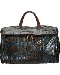 Zagliani Metallic Large Python Maisa Top Handle Bag