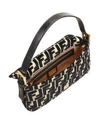 Fendi Natural Python Strap Velvet Baguette Bag