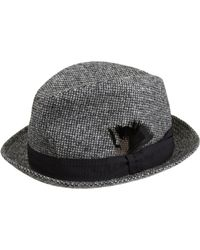 Paul Smith Black Tweed Trilby Hat for men
