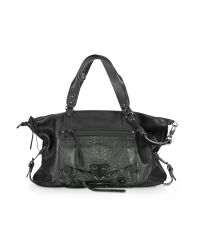Abaco Black Odelia Large Python Leather Tote