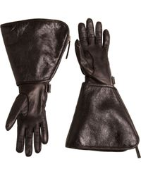 Balenciaga Metallic Flared Cuff Gloves