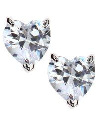 CZ by Kenneth Jay Lane | White Heart Stud Earrings | Lyst
