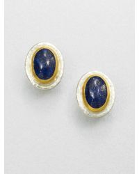 Gurhan | Metallic Lapis, Sterling Silver & 24k Yellow Gold Button Earrings | Lyst