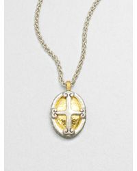 Gurhan | Metallic Sterling Silver 24k Gold Crest Pendant Necklace | Lyst