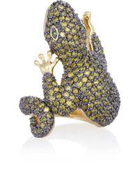Kenneth Jay Lane - Blue Cubic Zirconia Gecko Ring - Lyst