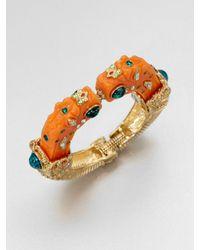 Kenneth Jay Lane Orange Dragon Head Bangle Bracelet