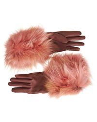 Lanvin Pink Fur Cuff Gloves