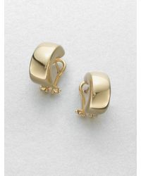 Roberto Coin | Metallic 18k Yellow Gold Huggie Hoop Earrings/0.7 | Lyst