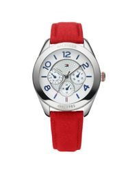 Tommy Hilfiger | Womens Red Leather Strap Watch | Lyst