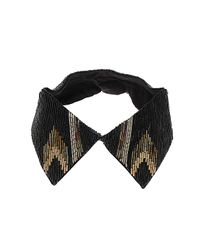 TOPSHOP Black Bugle Bead Shirt Collar