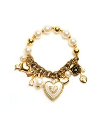 Betsey Johnson - White Simulated Pearl and Heart Stretch Bracelet - Lyst