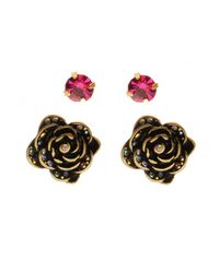 Betsey Johnson | Pink Crystal and Rose Stud Earrings Set | Lyst