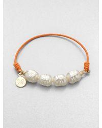 Majorica - 10mm White Baroque Pearl Stretch Bracelet - Lyst
