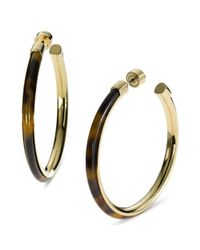 Michael Kors | Metallic Gold Tone Tortoise Large Hoop Earrings | Lyst