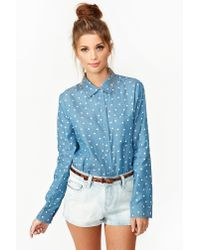 Nasty Gal Blue Chambray Heart Shirt