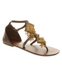 Office Brown Magnetic Glitter Flatform Sandals