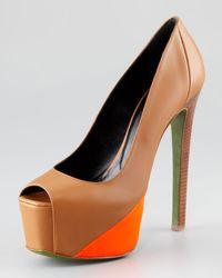 Ruthie Davis - Brown Hamel Leather Neon Platform Pump - Lyst