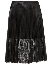 TOPSHOP Black Pleated Lace Skirt