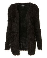 TOPSHOP Black Knitted Hairy Yarn Cardigan