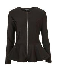 TOPSHOP Black Scuba Peplum Jacket