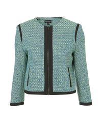 TOPSHOP Blue Coord Fluro Boucle Jacket