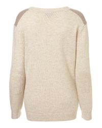 TOPSHOP Natural Knitted Military Jumper
