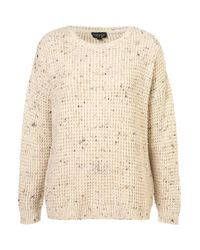 TOPSHOP Natural Knitted Speckle Slouch Jumper