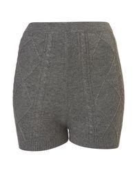 TOPSHOP Gray Cable Knit Shorts