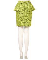 TOPSHOP Green Lime Lace Peplum Pencil Skirt
