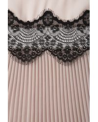TOPSHOP Natural Scallop Lace Insert Pleat Top