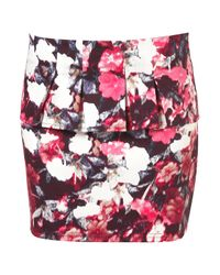 TOPSHOP Multicolor Raw Edge Wrap Mini Skirt